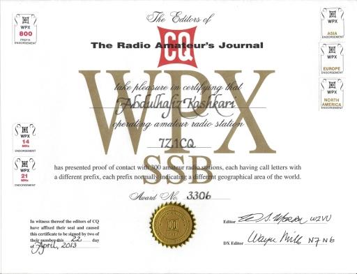 7Z1CQ WPX SSB AWARD